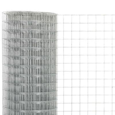 vidaXL Malla de alambre de acero galvanizado plateada 25x0,5 m