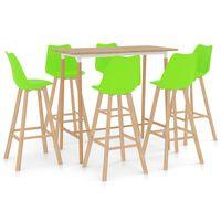 vidaXL Mesa alta y taburetes de bar 7 piezas verde