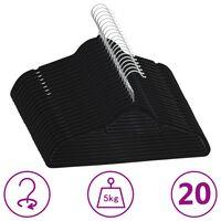 vidaXL Juego de perchas ropa 20 uds antideslizantes terciopelo negro