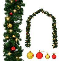 vidaXL Guirnalda de navidad decorada con bolas y luces LED 20 m