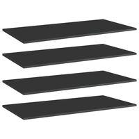 vidaXL Estantes estantería 4 uds aglomerado negro brillo 100x50x1,5 cm