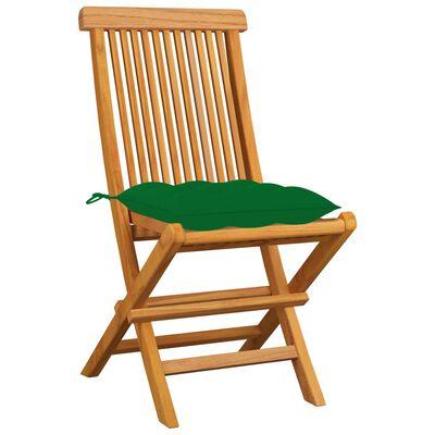 vidaXL Sillas de jardín 8 uds madera maciza de teca con cojines verdes