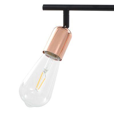 vidaXL Lámpara de focos con 4 luces negro y cobre E27 60 cm