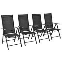 vidaXL Sillas plegables de jardín 4 uds aluminio y textilene negro
