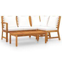 vidaXL Muebles de jardín 4 pzas cojines crema madera maciza de acacia