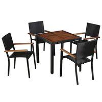 vidaXL Set comedor jardín 5 pzas ratán sintético y madera acacia negro
