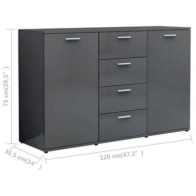 vidaXL Aparador de aglomerado gris brillante 120x35,5x75 cm