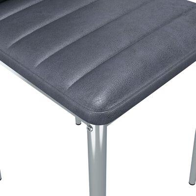 vidaXL Sillas de comedor 2 unidades piel de ante artificial gris