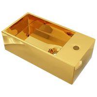 vidaXL Lavabo con rebosadero 49x25x15 cm cerámica dorado