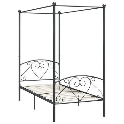 vidaXL Estructura de cama con dosel metal gris 90x200 cm