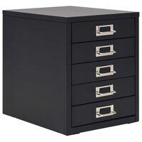 vidaXL Armario archivador con 5 cajones metal negro 28x35x35 cm