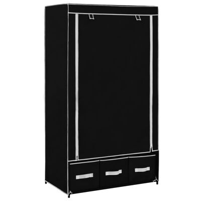 vidaXL Armario de tela negro 87x49x159 cm