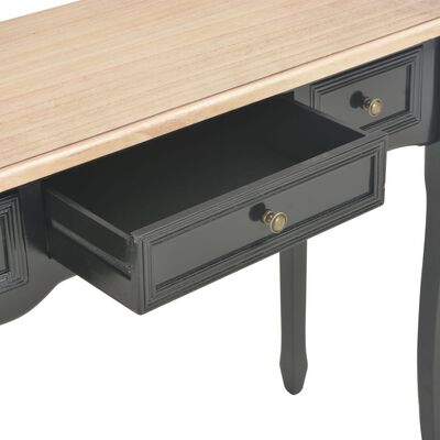vidaXL Mesa consola tocador con 3 cajones negro