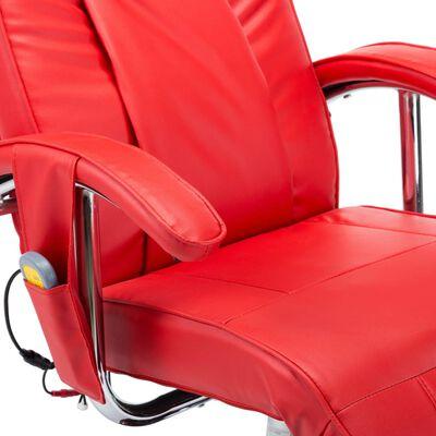 vidaXL Sillón de masaje de cuero sintético rojo