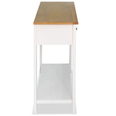 vidaXL Mesa consola de madera de roble maciza 118x35x77 cm