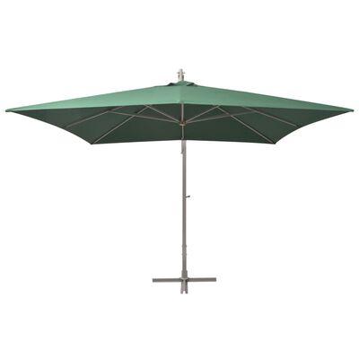 vidaXL Sombrilla colgante con palo de aluminio 300x300 cm verde