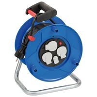 Brennenstuhl Carrete de cable con cargador USB Garant azul 25 m
