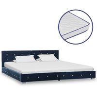 vidaXL Cama con colchón viscoelástico terciopelo azul 180x200 cm