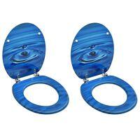 vidaXL Asientos de inodoro con tapa 2 uds MDF azul diseño gota de agua