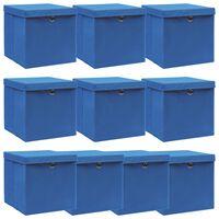 vidaXL Cajas de almacenaje con tapa 10 uds tela 32x32x32 cm azul