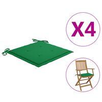 vidaXL Cojines para sillas de jardín 4 unidades verde 40x40x3 cm