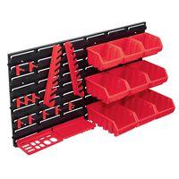 vidaXL Kit de cajas de almacenaje 34 pzas paneles de pared rojo negro
