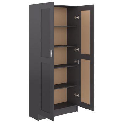 vidaXL Armario de libros aglomerado gris brillante 82,5x30,5x185,5cm