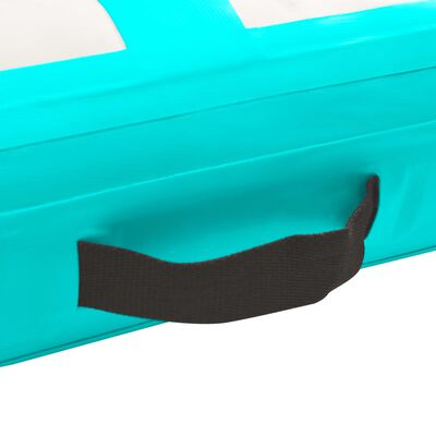 vidaXL Esterilla inflable de gimnasia y bomba PVC verde 400x100x15 cm