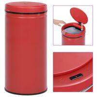 vidaXL Cubo de basura con sensor automático 70 L acero al carbono rojo