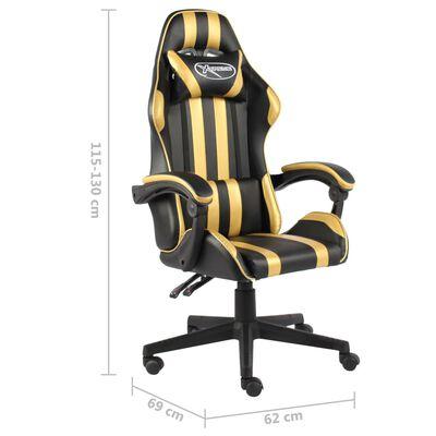 vidaXL Silla gaming de cuero sintético negro y dorado