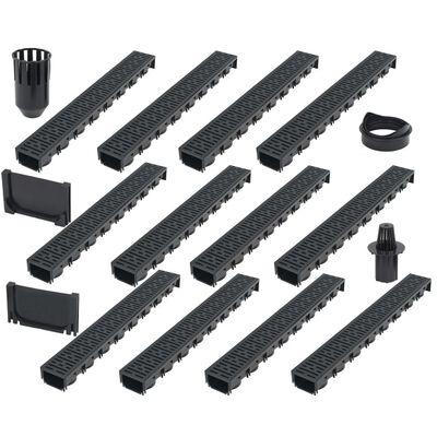 vidaXL Canales de drenaje 12 unidades plástico 12 m