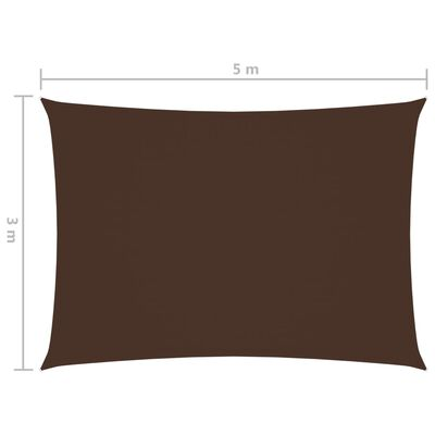 vidaXL Toldo de vela rectangular tela oxford marrón 3x5 m