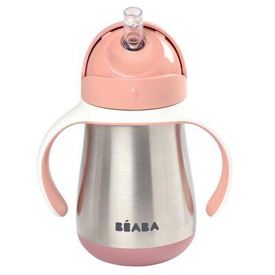Beaba Vaso con pajita de acero inoxidable rosa 250 ml