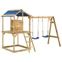 vidaXL Casita de juegos columpios y escalera madera de pino impregnada